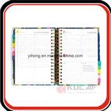 Encuadernado en espiral personalizados Planner Organizador diario con el asunto el divisor
