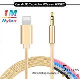 кабель нейлона 1m Braided вспомогательный освещая к переходнике аудиоего Jack наушников мужчины 3.5mm