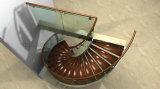 Hermosa escalera de caracol de cristal de lujo escalera de vidrio curvada escaleras