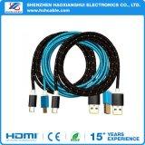 Cable USB Micro PPC transparente azul con núcleo de ferrita