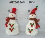 Листья Санта падуба и подарок украшения рождества снеговика