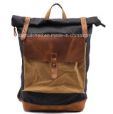 Nova chegada Vintage mochila de couro de lona Encerada Caminhadas Backpack
