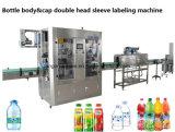 Double machine à étiquettes principale de chemise de rétrécissement de corps de capsule et de bouteille pour le bidon de bouteille
