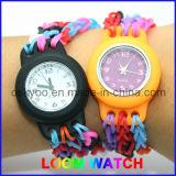 Relógio relativo à promoção das faixas do tear do arco-íris dos miúdos do silicone novo de DIY