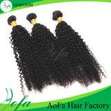 Естественные черные людские человеческие волосы Remy мягко оживлённые двойные Weft бразильские Kinky курчавые
