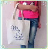 Baumwolleinkaufen-Handbeutel-junges Mädchen-Einkaufen-Segeltuchtote-Beutel 100%
