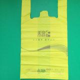 Saco de portador plástico da compra do t-shirt do HDPE