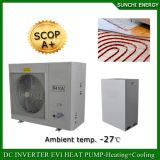 La sala 12kw/19kw/35kw del tester del riscaldamento di pavimento di inverno di tecnologia -25c di Evi 100~350sq Automatico-Disgela il riscaldatore di acqua spaccato dell'invertitore di CC della pompa termica