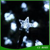 Luces solares de la secuencia 50LED Iluminación al aire libre del jardín Festival blanco de la estrella Decoran las luces de hadas solares Luz del partido del césped