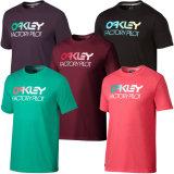O tipo da planície da cópia do logotipo do OEM Ombre ostenta a camisa do lazer T da garganta de grupo
