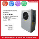 Amb. Chaufferette eau-air chaude industrielle de support de mur de reprise de chaleur résiduelle de source d'air de l'eau chaude 3HP 5HP 10HP R134A+R410A de la sortie 90c de -20c