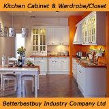 Cor-de-laranja brilhante de alta armário de cozinha lacados