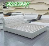 S152 El diseño de Europa, marco de la cama de cuero blanco