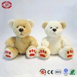 장난감 곰 베이지색의와 백색에 의하여 수를 놓는 귀여운 착석 푹신한 장난감