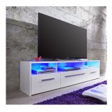 Suporte para TV em branco com brilho e iluminação LED frontal