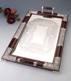 Groot Zilveren Geplateerd en Houten Dienblad (TW12308BXR-2F)