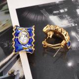 [رهينستون] بلّوريّة معدن سبيكة زرقاء مينا نمو مجوهرات حلق