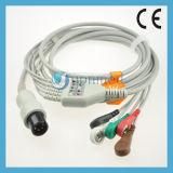 Dixtal 3 Cables ECG Cable con hilos conductores , 6 pines , Snap