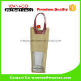 Customized Wholesale Foldable Jute Tote Shopping Bag com janela de PVC para o vinho