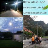 Iluminação de LED de alimentação de fábrica de 3 anos de garantia 80 W Luz Rua Solar de LED