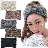 Каваий узел трикотажные Headbands для девочек вязание спицы шерсть головная стяжка носовой узел ухо теплее зимой тепло Headbands толщиной