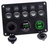 Interrupteur à bascule de bateau Marine Panneau 5 Piste Interrupteurs à bascule avec tension numérique QC 3.0 et 2.4a 5V Alimentation USB pour chargeur allume-cigare voiture Jeep du chariot