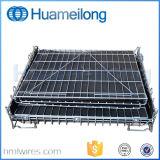 Lager-zusammenklappbare Stahlmetalldraht-Speicher-Rahmen mit Rädern