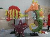 Künstliche Gras-Skulptur-Pfau-Basisrecheneinheits-Pilz-Seepferden-Stern-Fische