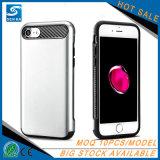 Caja colorida del teléfono celular de las ranuras para tarjeta de la carpeta de TPU+PC para el iPhone 7 de Apple