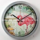 Orologio di parete di plastica argenteo decorativo di vendita caldo del fenicottero elegante operato unico