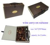 Contenitore personalizzato di vino del cartone con la maniglia di cuoio per due bottiglie