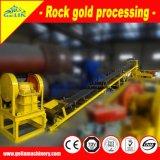 Planta de tratamiento del oro de la roca del bajo costo con la trituradora de quijada, molino de martillo y vector de la sacudida