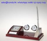 Orologio di legno dello scrittorio del regalo di affari con il termometro & l'igrometro