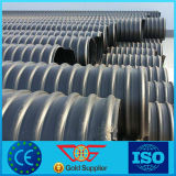 Tubo acanalado reforzado tira de acero grande del plástico de polietileno del HDPE