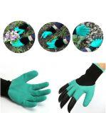 La vente chaude a remis des gants de génie de jardin avec les bouts du doigt en plastique