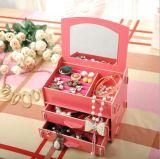 Nouveau style DIY Boîte de rangement en bois avec miroir, Boîte à bijoux pour pendentif, Collier, Anneau
