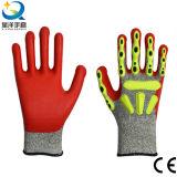TPR desserrent la résistance Sandy enduite par nitriles de coupure ou les gants des gants terminés par mousse TPR Anti-Coupent des gants