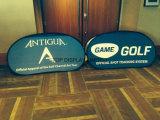 Напольное быстро - установленная вверх складывая -Рамка хлопает вверх вне знамя индикации для рекламировать Антигуу и игру гольфа треугольник знамен случая выставки рамки напечатанный складчатостью
