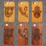 Kirschhölzerner natürlicher geschnitzter hölzerner Kasten für iPhone 8