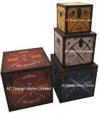 S/4 оформлены старинной Vintage знак дизайн квадратных печать провод фиолетового цвета кожи/MDF деревянные окна соединительных линий для хранения