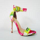 2017 новых ботинок сандалии высокой пятки повелительницы Способа конструкции с флористической печатью