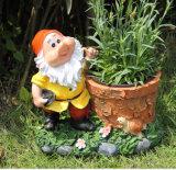 Crisol de flor de la estatua de los gnomos de Polyresin de la decoración del jardín