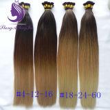 Estensione dei capelli umani della cheratina di Remy del Virgin di colore di Ombre