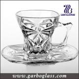 セットされる現代デザイン装飾的で小さいガラスマグ及び受皿(TZ-GB09D1204ZS)