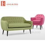 Modèles réglés de salle de séjour de la moitié du siècle de meubles de sofa européen classique de tissu