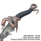 빨간 청동색 뱀 칼 환상 칼 테이블 훈장 33cm