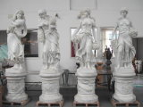 Weiße europäische Held-Höhlenkunden-Marmorierungstatuen, die Skulptur schnitzen