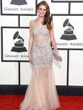 Платья вечера выпускного вечера сногсшибательной Beaded отвесной знаменитости Tulle открытые назад длинние