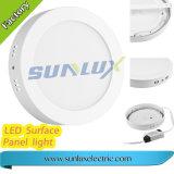 Lampe de panneau ronde montée par surface en aluminium du rendement 12W 18W 24W 110V-240V DEL