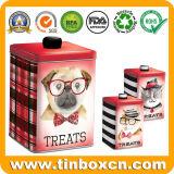 L'alimento per animali domestici tratta il contenitore di stagno per i biscotti del biscotto cane/del gatto